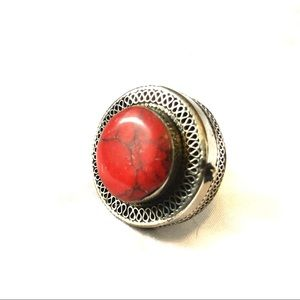 Boho vintage pill box statement ring
